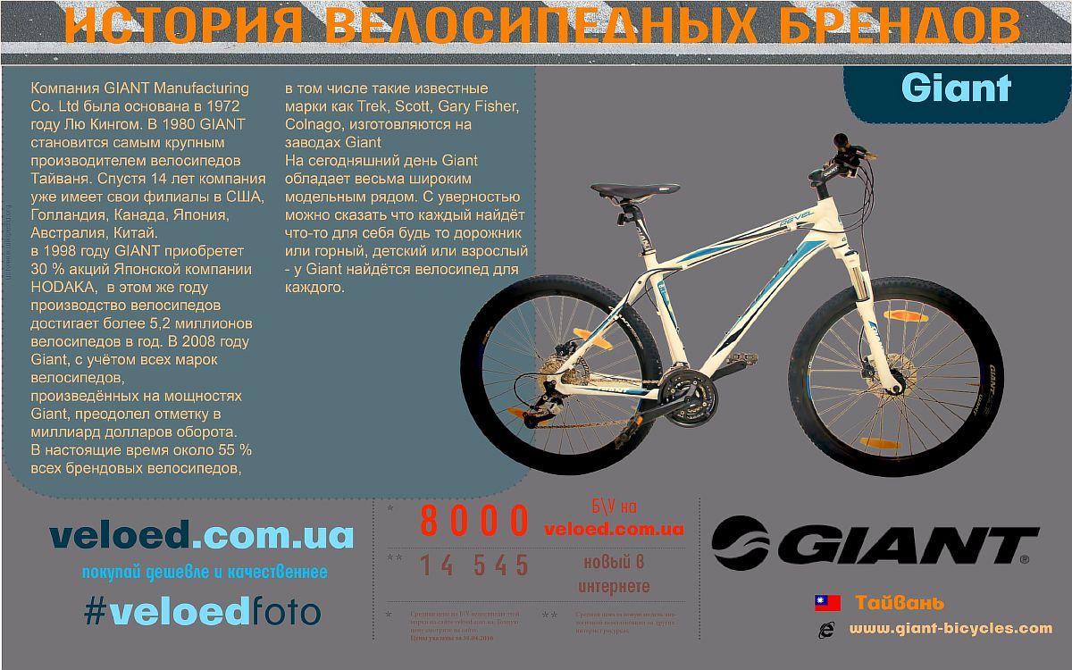 Велосипеді Giant. История основания - инфографика